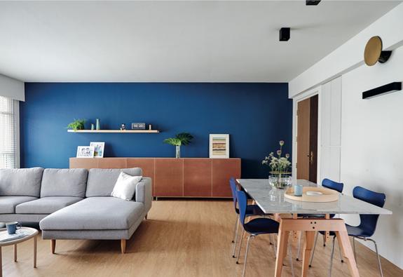 Ngôi nhà với những mảng tường màu xanh