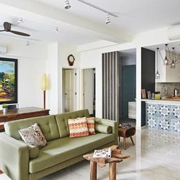 Căn hộ kết hợp giữa gỗ mộc và đồ nội thất sắc màu